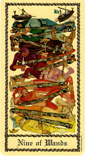 The Nine of Wands from the Medieval Scapini Tarot.
