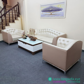 Bộ sofa da phòng khách tân cổ điển