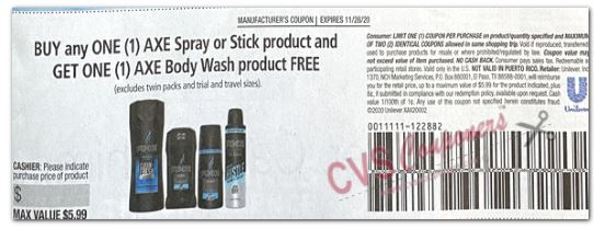 "FREE Axe Body Wash Product-WYB-ONE Axe Spray OR: Stick Product Max Value $5.99 Coupon from ""RetailMeNot"" insert week of 11/15/2"