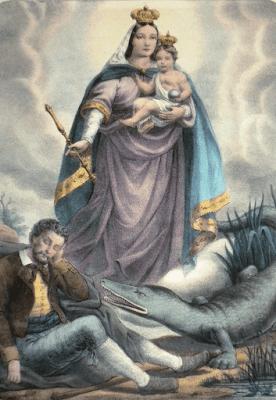Nossa Senhora da Penha com o Menino Jesus no colo e aos seus pés o peregrino e o lagarto