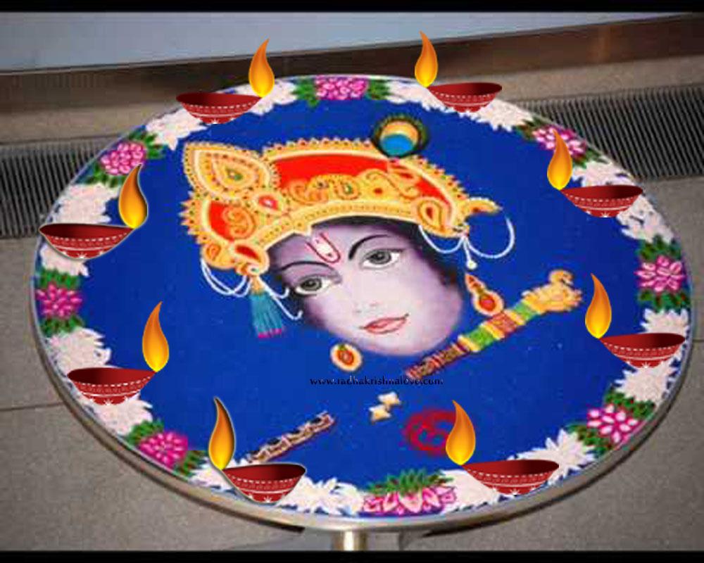 Radha Krishna Rangoli Designs Diwali