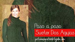 Suéter con cuello alto y trenzas dos agujas | Paso a paso