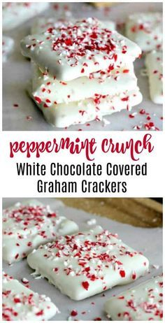 Easy Peppermint Crunch White Chocolate Covered Graham Crackers