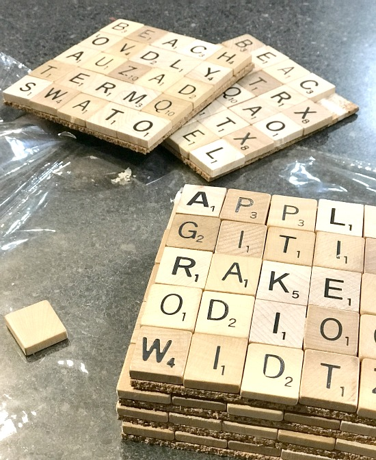 Coasters using vintage scrabble tiles