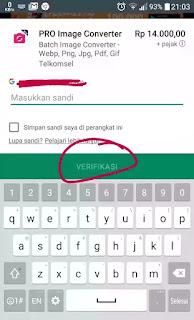 masukkan password akun google anda lalu klik verifikasi