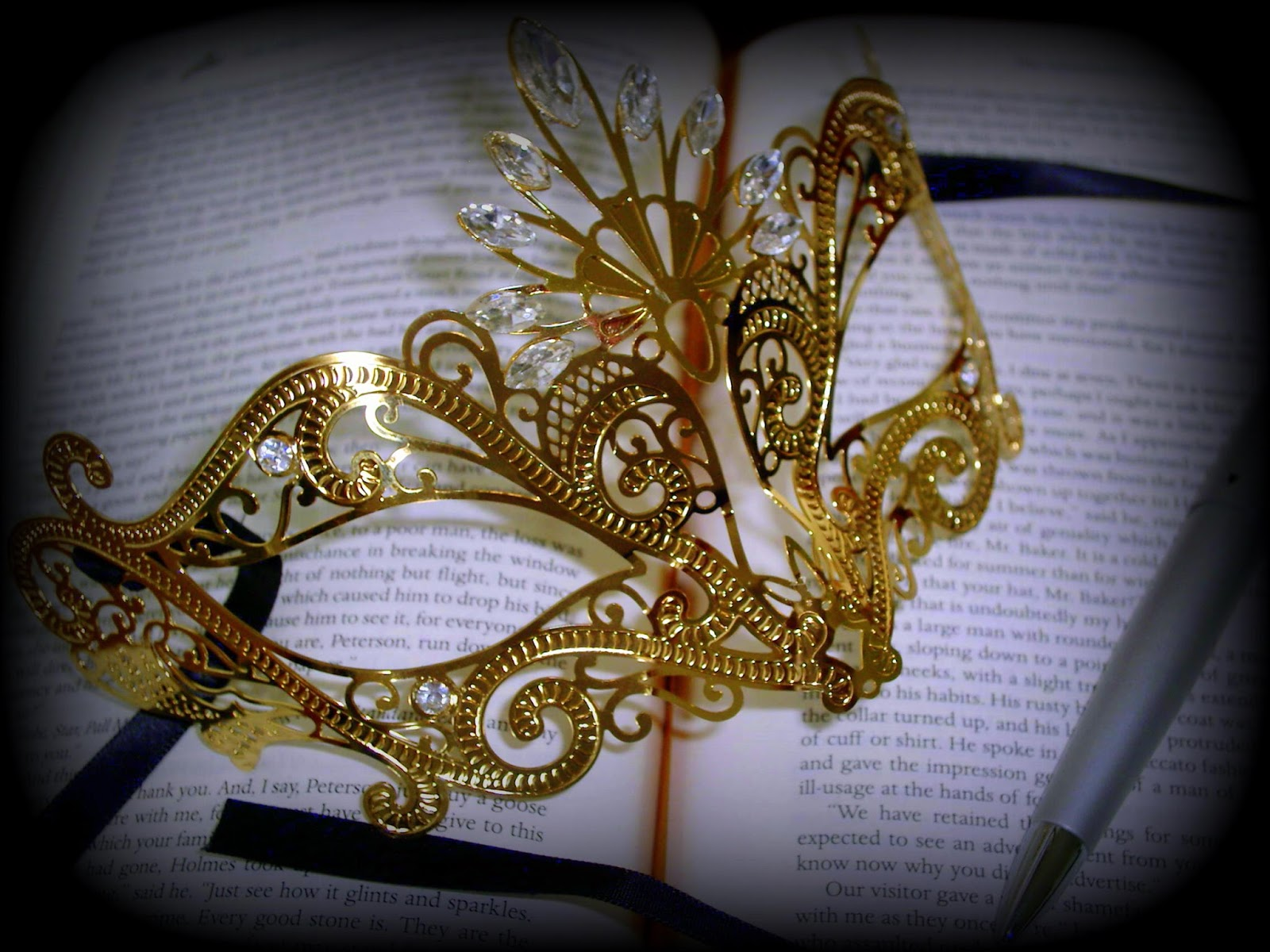 Gold filigree masquerade ball mask