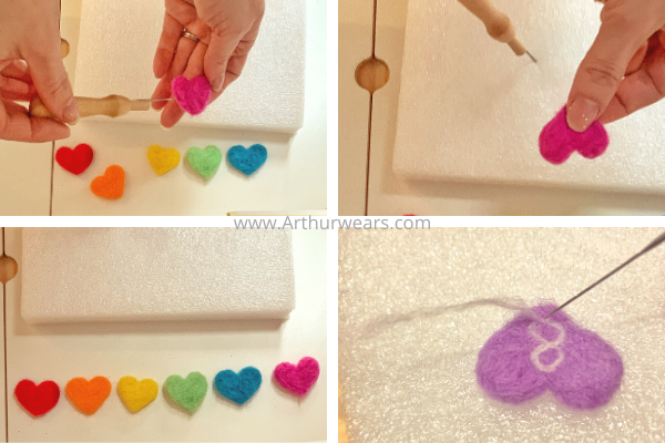 step by step to make needle felted hearts  adding the numbers