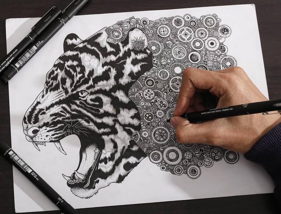 06-Roaring-Tiger-Doodle-Rocky-Villaruel-www-designstack-co