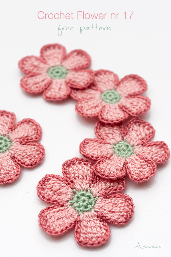 Crochet Flower nr 17, free pattern by Anabelia Craft Design