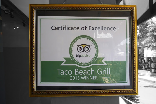 Taco Beach Grill Certificate of Excelence by TripAdvisor