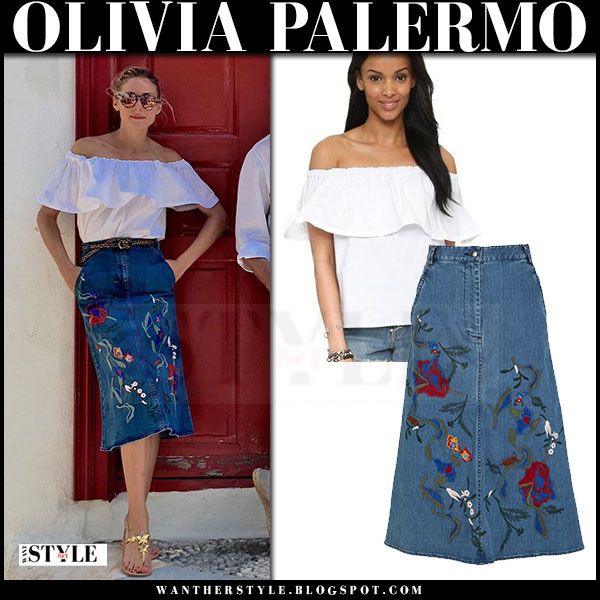 Olivia Palermo in white off shoulder line and dot antonio top and denim embroidered midi skirt tibi marisol what she wore greece
