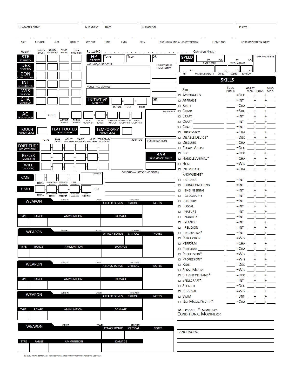 Pathfinder Companion Character Sheet Printable | Wiring Diagram Database