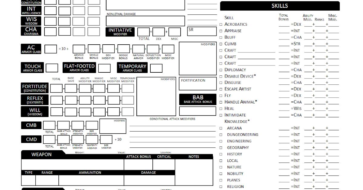 Pathfinder character sheet - cafenews info