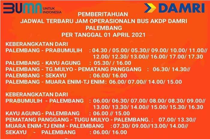 Jadwal Damri Palembang Muara Enim 2021-2022