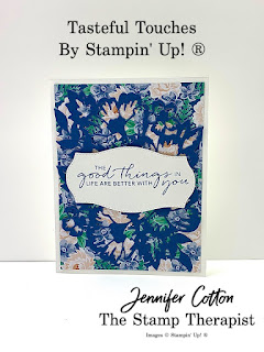 This card uses Stampin' Up!'s Blossoms in Bloom and Tasteful Touches Bundles and Flowers for Every Season Designer Paper.  Click the pic for more info!  #StampinUp #StampTherapist