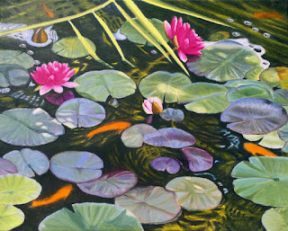 "oil painting of water lilies, 16"" x 20"", copyright Anne Doane 2017"