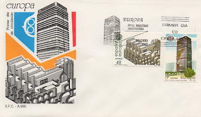 sobre, sello, Europa, museo, Mérida, banco Bilbao
