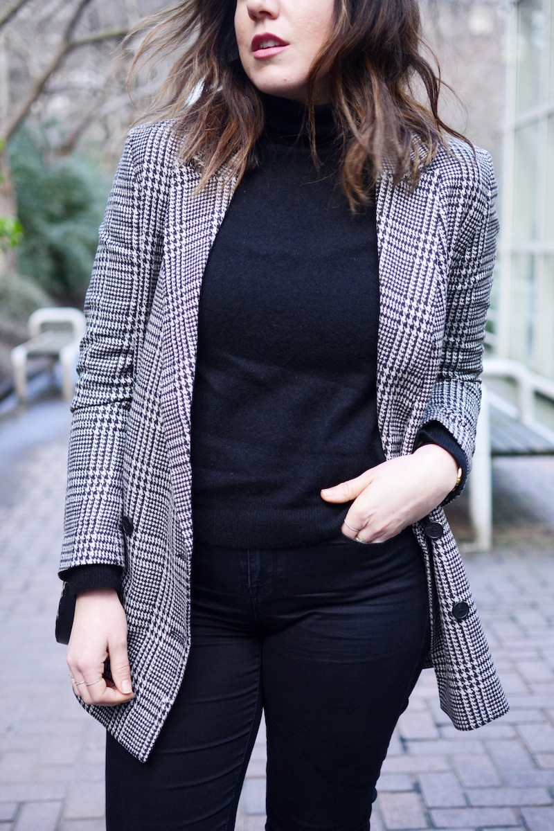 Le Chateau jeans vancouver fashion blogger gucci arabesque handbag H&M plaid oversized blazer vancouver fashion blogger cute boyfriend blazer outfit chic minimalist style