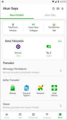 Akun Saya - Source Code Tokopedia UI Clone dengan Flutter