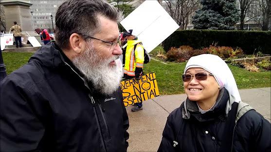 Catholic nun Toronto coronavirus lockdowns rally politics masking euthanasia isolation quarantines