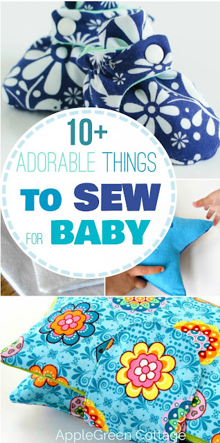 10 adorable things to sew for a baby, easy sewing projects with beginner sewing patterns. Make cute homemade baby shower gifts.
