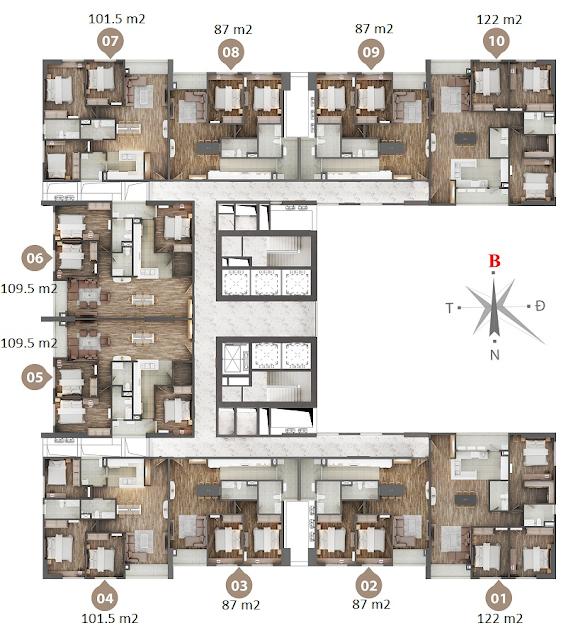 Mặt bằng chi tiết căn hộ Phú Mỹ Complex