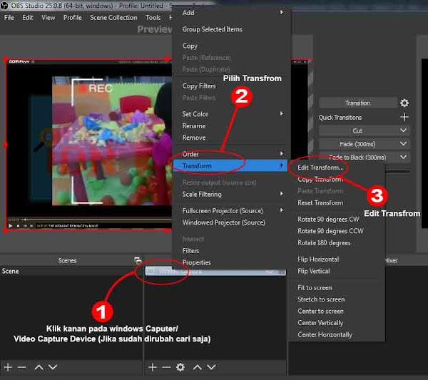 Edit Transform Crop, drag dan Rotate