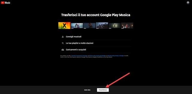 trasferimento da google play music a Youtube Music