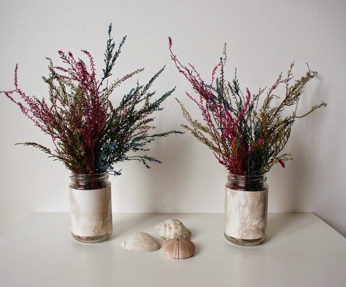 marbled jars diy home pots