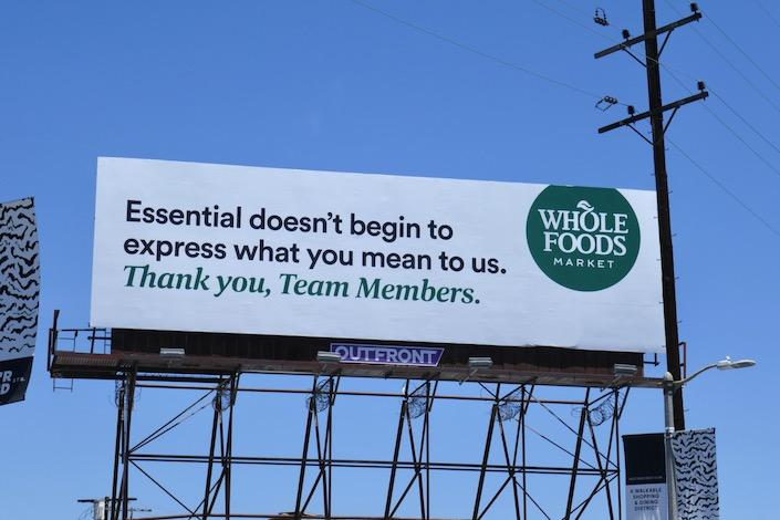 Essential Team Members Wholefoods billboard