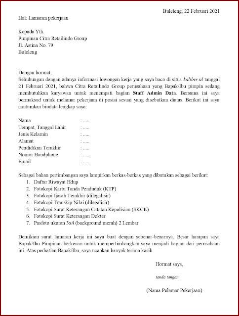 Contoh Application Letter Untuk Staff Admin Data (Fresh Graduate) Berdasarkan Informasi Dari Website