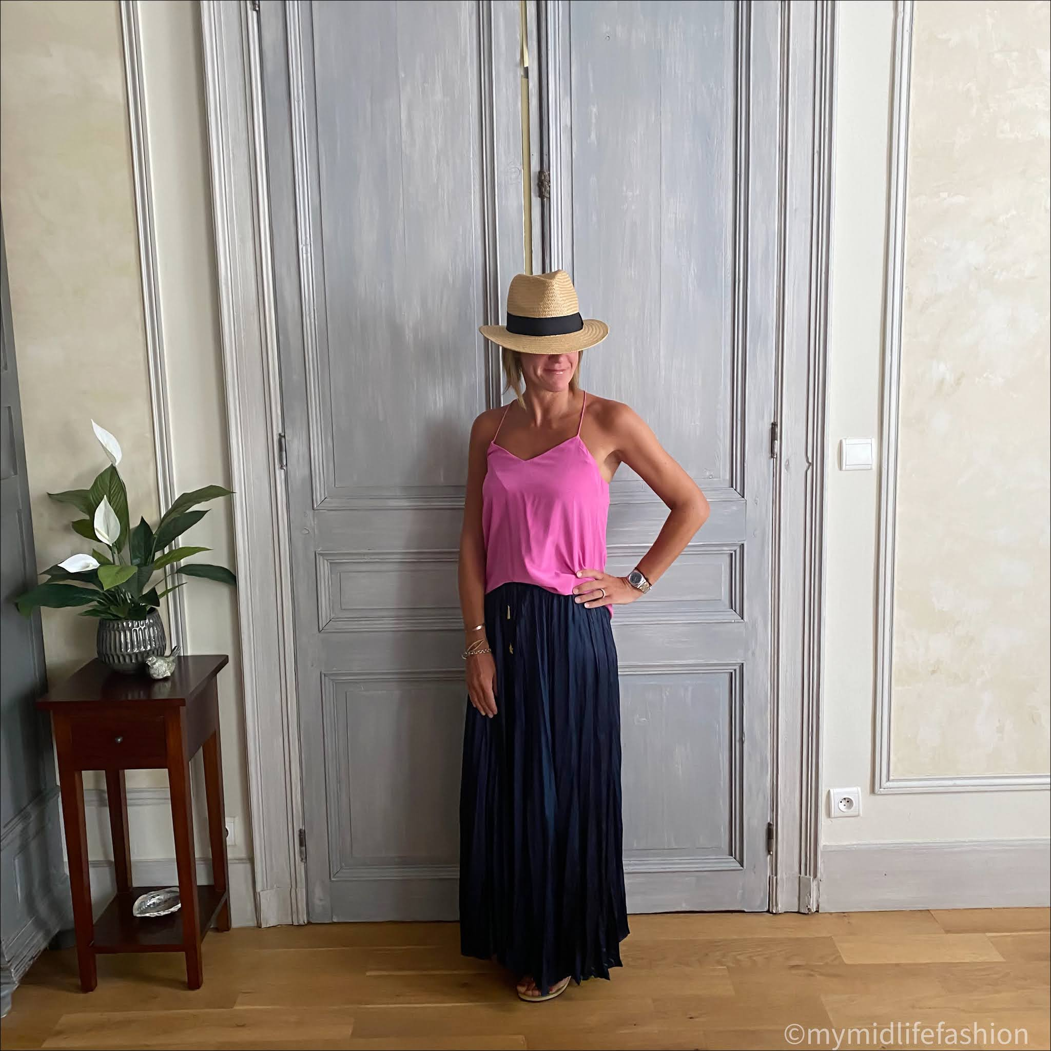 my midlife fashion, tibi silk camisole, h and m straw Panama hat, zara wrinkled satin effect skirt, havaiana slim fit gold flip flops