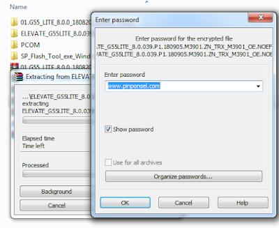 memasukkan password www.pinponsel.com pada saat ekstrak firmware luna g55 lite