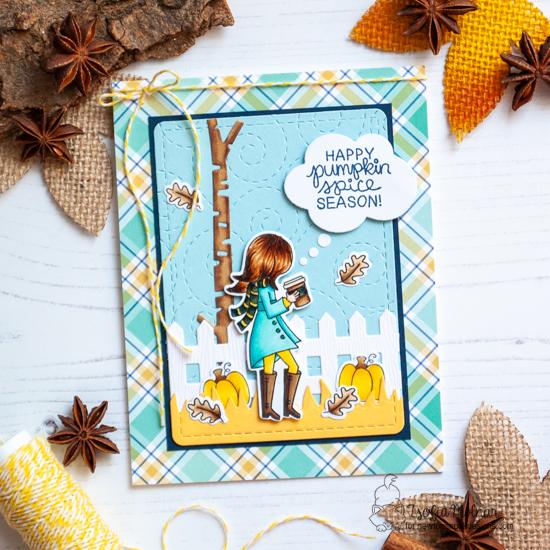 Pumpkin Spice Season Card by Zsofia Molnar   Pumpkin Latte Stamp set and various die sets from Newton's Nook Designs #newtonsnook #handmade