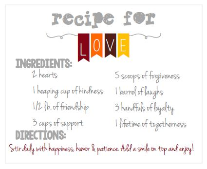 mason jar printable- recipe for love