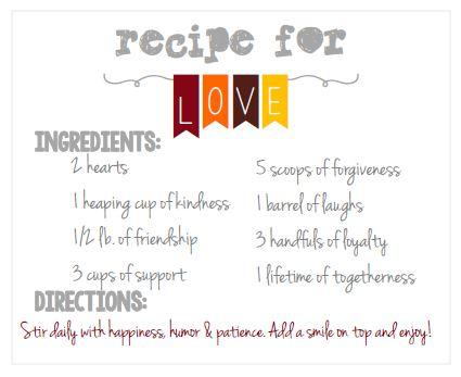 mason jar printable- recipe for love