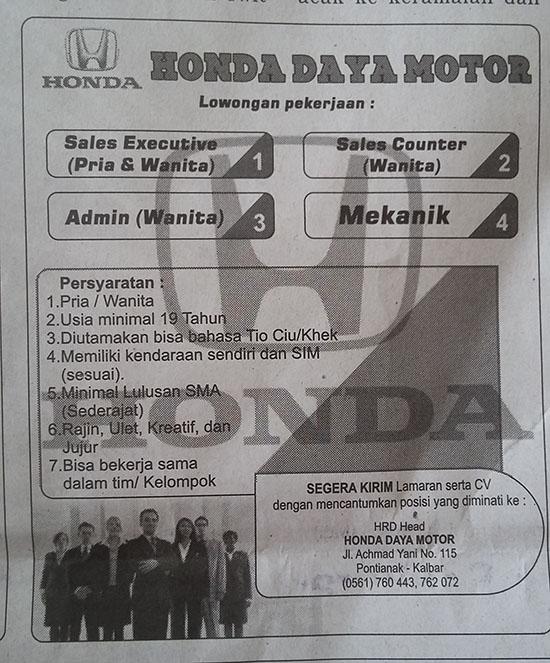 Iklan lowongan Pekerjaan. Sumber koran Tribun Pontianak 1 Januari 2018