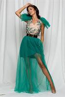Rochie Dy Fashion Milena verde din tulle cu broderie la bust •