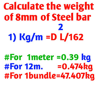 calculate the weight of 8 mm Steel bar