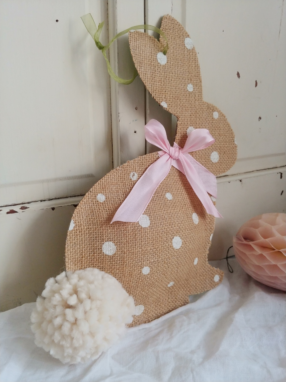 Burlap bunny decor