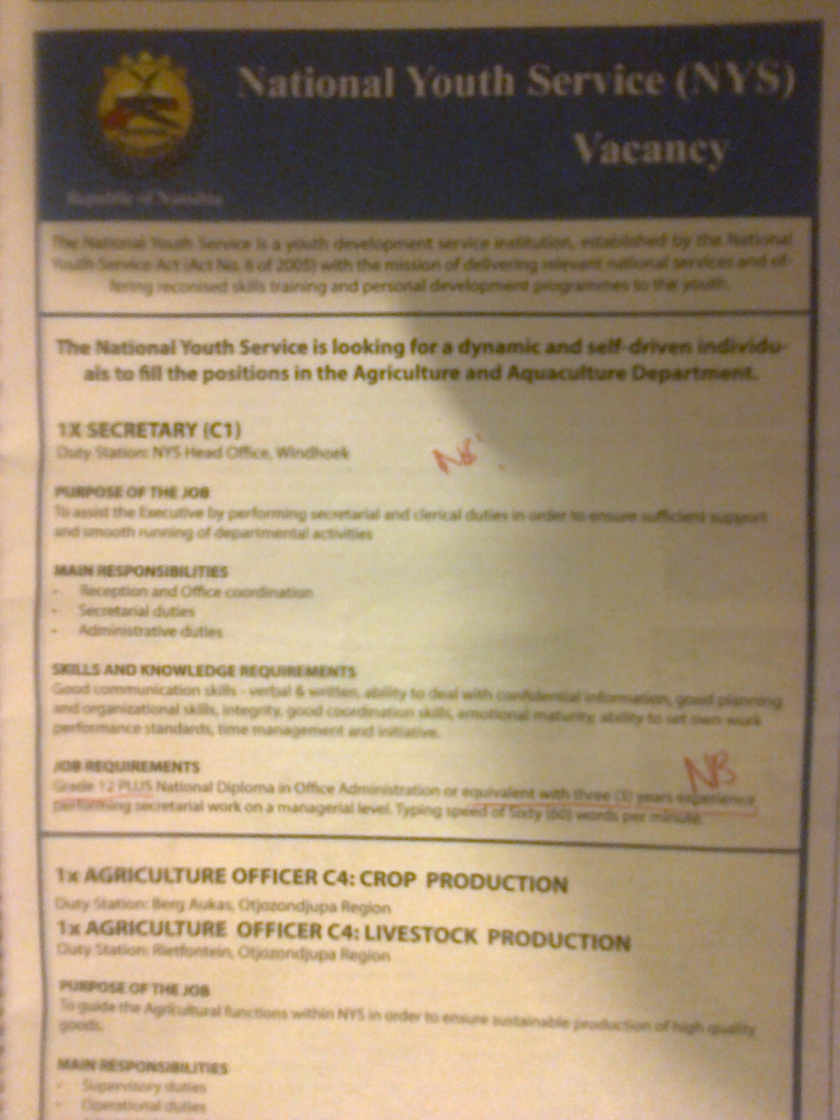 jobs in namibia  vacancy 1 x secretary c1  3 years exp