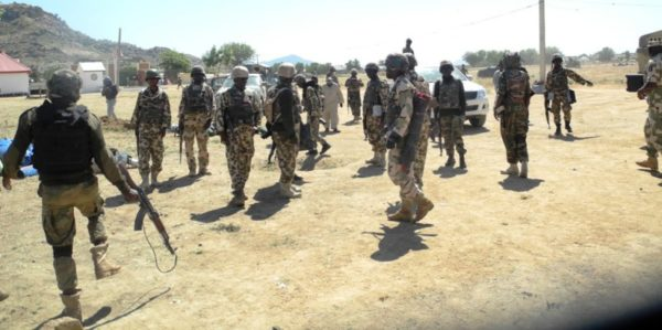 Soldiers of the 21 Brigade of the Nigerian Army, deployed to Sambisa forest to deal a final blow to Boko haram terrorists