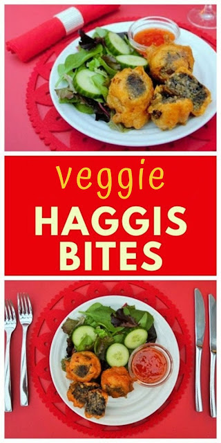 Vegan beer battered haggis bites are made with shop-bought vegetarian haggis, tinned beans and spices coated in a lightly spiced beer batter. Link to homemade veggie haggis included. #veganhaggis #vegetarianhaggis #beerbatter #berrbattered #battered #scottishrecipes #haggis