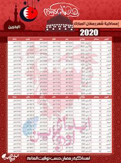 وقت الامساك في رمضان والافطار 2020
