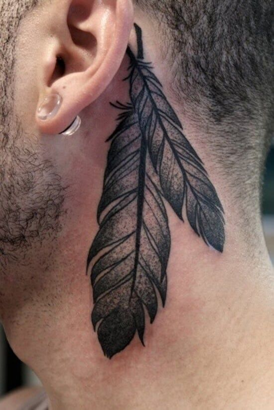 Behind Ear Feather Tattoo