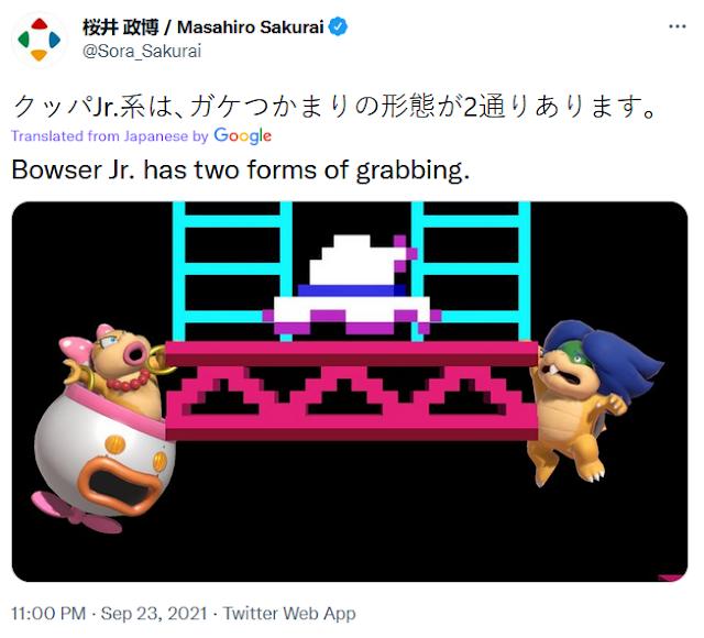 Masahiro Sakurai twitter tweet Bowser Jr. two forms of grabbing