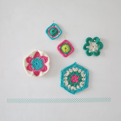 crochet, handmade, vegan yarn, cotton, little motifs, bright colours, washi tape, masking tape