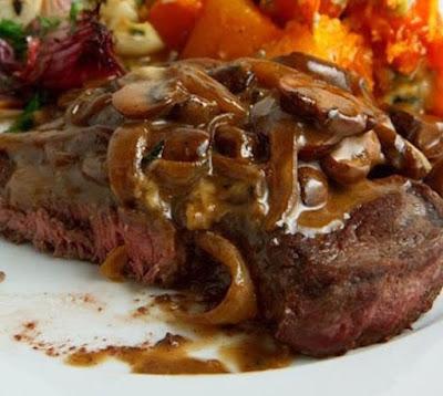 slow cooker onion-mushroom sauced round steak