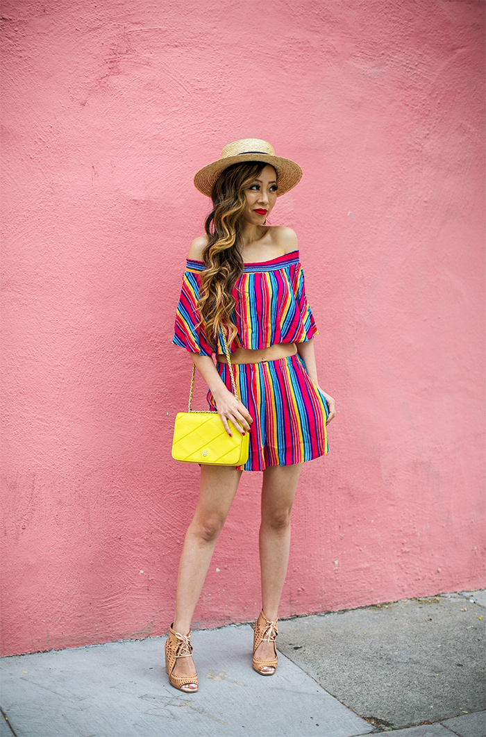 show me your mumu set, show me your mumu sasha swing top, show me your mumu cabana short, stripe matching set, straw hat, tory burch bag, kendra scott earrings, jeffrey campbell wedge sandals, san francisco street style, san francisco fashion blog, summer outfit ideas