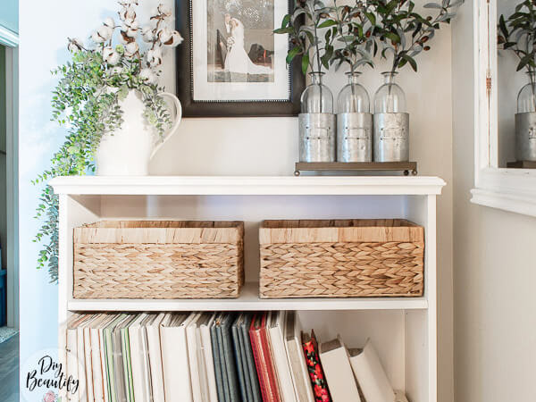 Updating a Tired Bookcase and Albums with Chalk Paint and Fabric